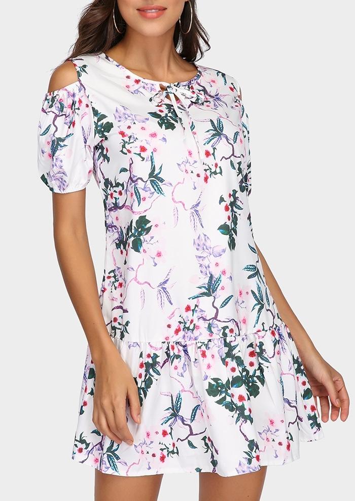 Floral Tie Cold Shoulder Mini Dress
