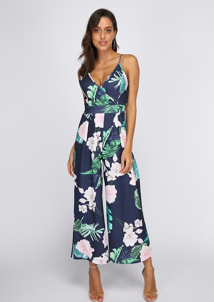 db556a093ae6 Floral Wrap Tie Spaghetti Strap Jumpsuit - Bellelily