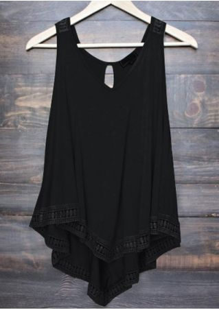 Solid Lace Splicing V-Neck Tank