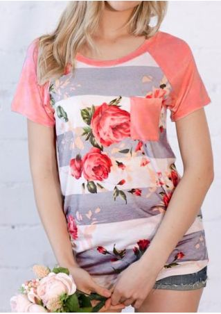 Floral Striped Pocket Baseball T-Shirt