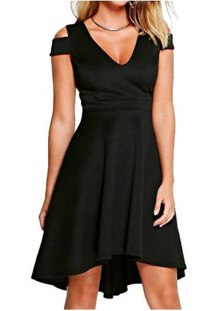 Solid Asymmetric Cold Shoulder Casual Dress without Necklace