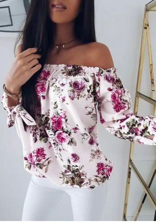 Floral Tie Off Shoulder Blouse without Necklace
