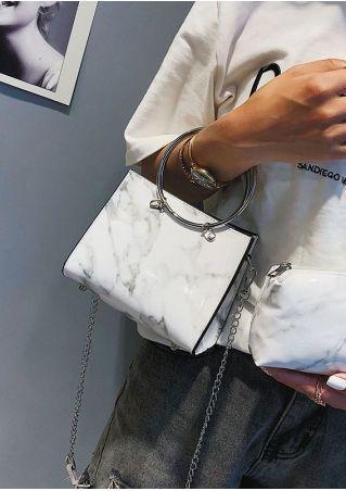 Marble Printed Handbag with Mini Purse