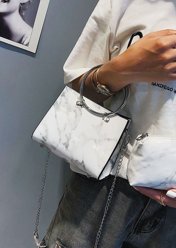 Marble Printed Handbag with Mini Purse
