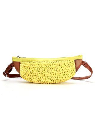 Linen Banana Shaped Crossbody Bag