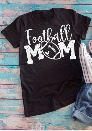 Football Mom Heart Short Sleeve T-Shirt