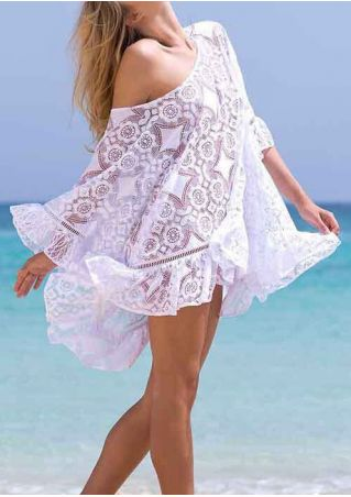 Solid Lace Ruffled One Shoulder Beach Cover Up