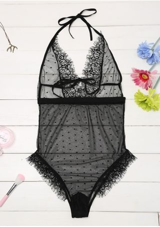 Solid Lace Floral Mesh Splicing Halter Lingerie
