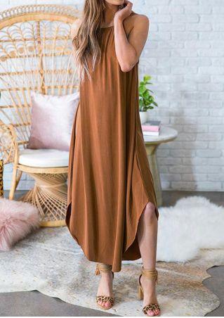Solid Asymmetric Spaghetti Strap Maxi Dress