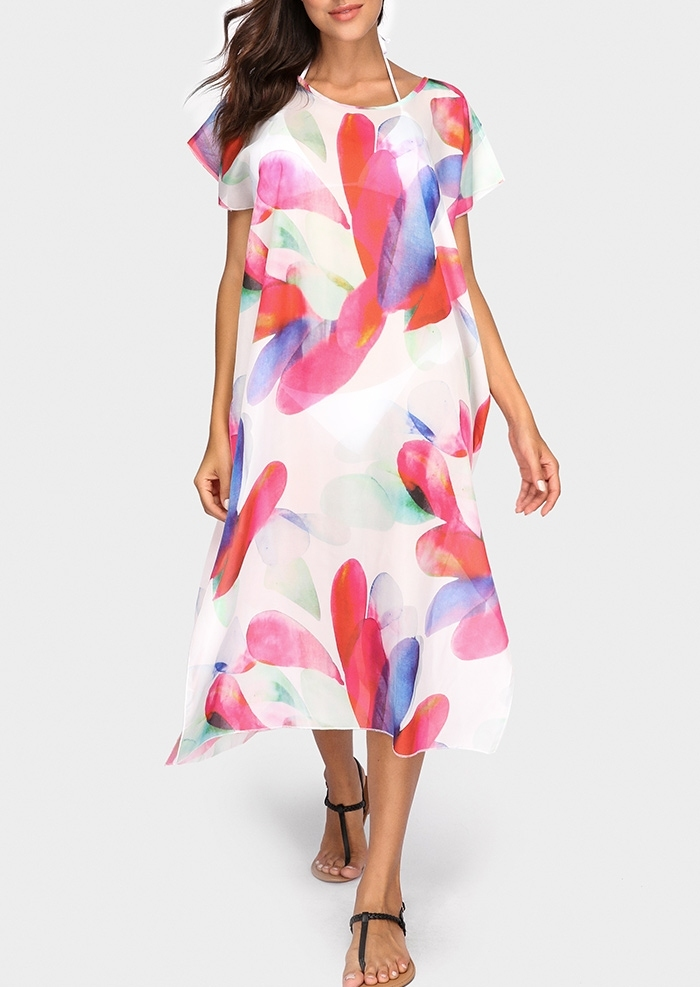 Printed Short Sleeve Beach Cover Up