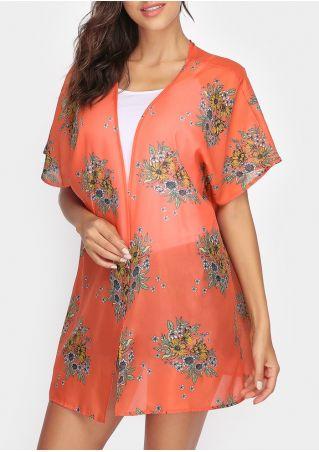 Floral Printed Short Sleeve Cardigan