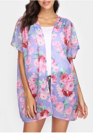 Floral Printed Short Sleeve Cardigan