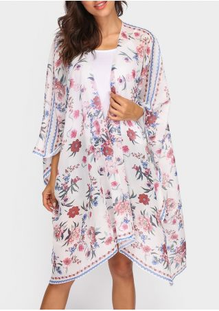Floral Asymmetric Three Quarter Sleeve Cardigan