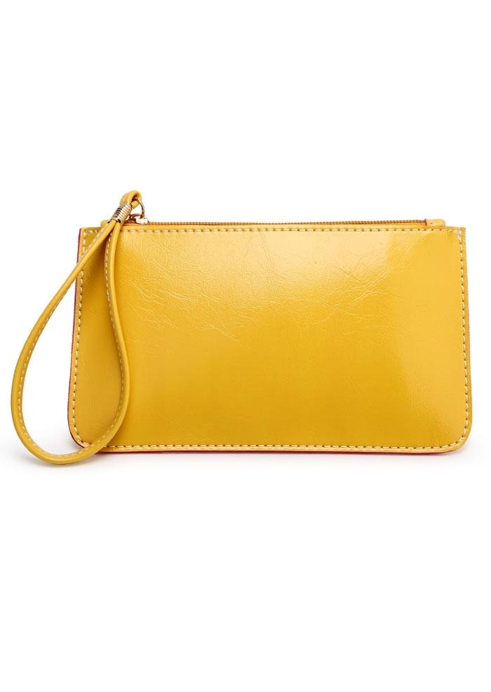 Solid Zipper Wrist Strap Clutch Bag