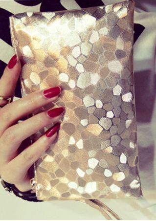 Stone Texture Zipper Clutch Bag