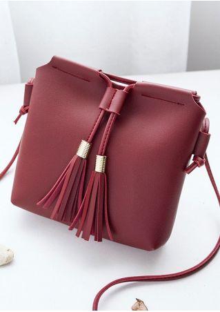 Solid Tassel PU Crossbody Bag