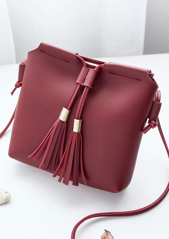 Solid Tassel PU Crossbody Bag