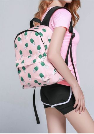 Cactus Zipper Adjustable Strap Backpack