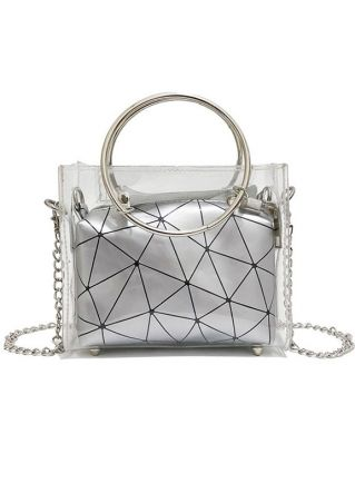 Geometric Transparent Two-In-One Crossbody Bag