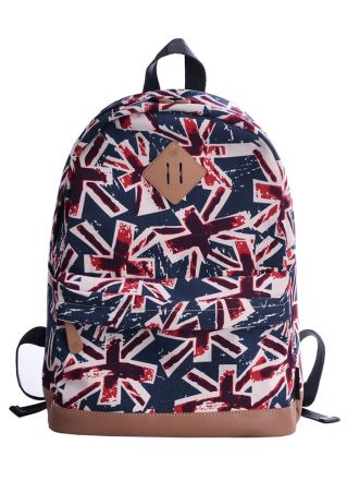 Union Flag Canvas Adjustable Strap Backpack