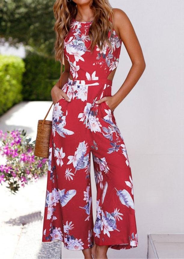 47f2e7919860 Floral Leaf Tie Hollow Out Jumpsuit - Bellelily
