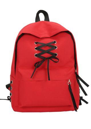 Lace Up Zipper Adjustable Strap Backpack