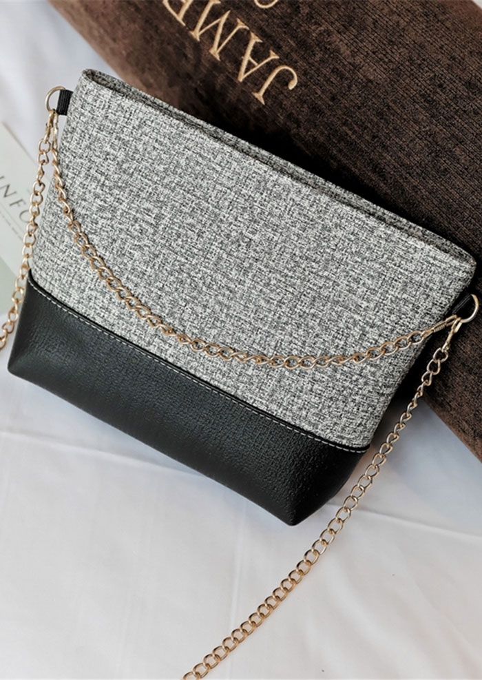 Splicing PU Chain Crossbody Bag