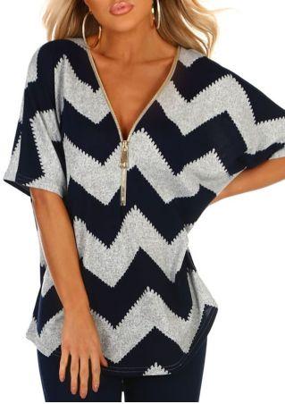 Zigzag Zipper Short Sleeve Blouse