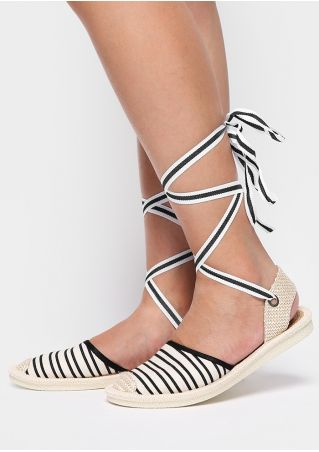 Striped Hollow Out Lace Up Flats