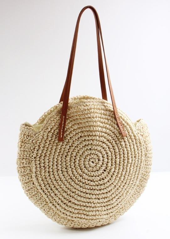 Straw PU Zipper Handbag Shoulder Bag