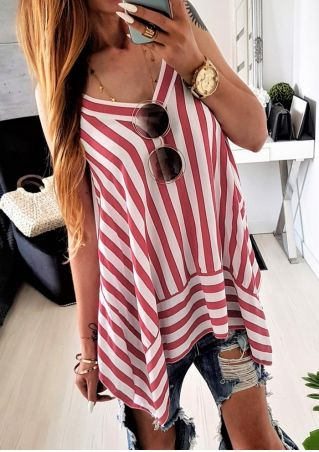Striped V-Neck Tank without Necklace