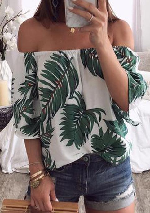 leaf off shoulder blouse without neckalce