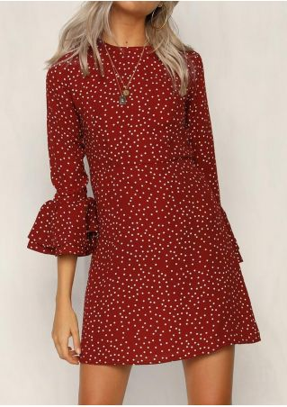 Polka Dot Flare Sleeve Mini Dress without Necklace