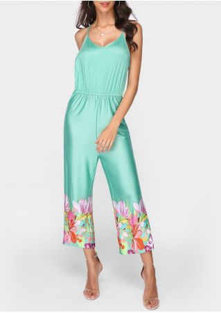 Floral Spaghetti Strap Jumpsuit without Necklace