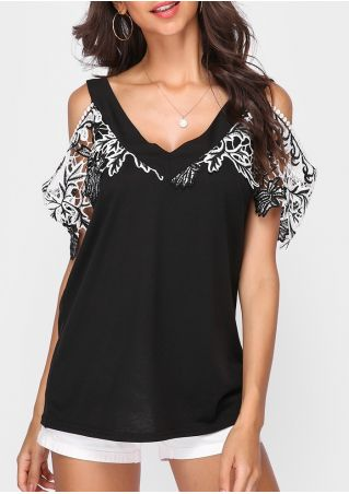 Lace Splicing Cold Shoulder Blouse without Necklace