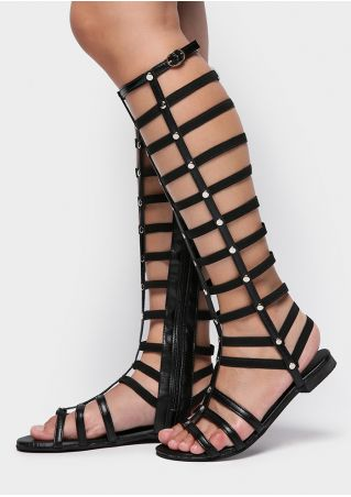 Solid Hollow Out Flat Gladiator Sandals