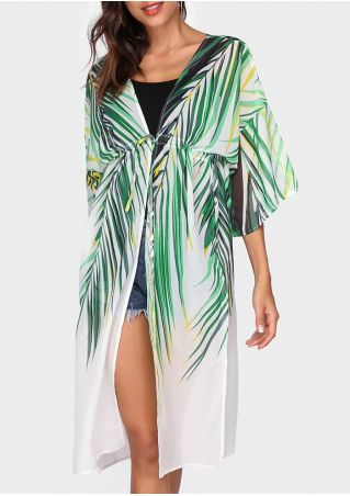 Leaf Drawstring Three Quarter Sleeve Cardigan