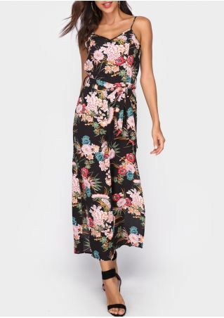 Floral Slit Spaghetti Strap Jumpsuit with Belt