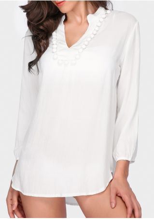 Solid Pompon V-Neck Beach Cover Up
