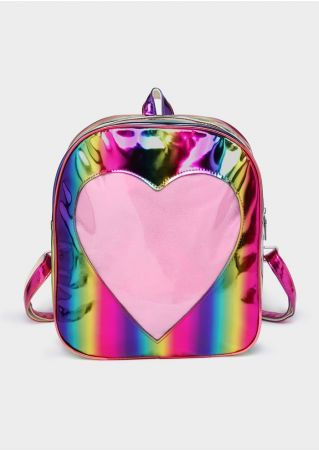 Heart Holographic Rainbow PU Backpack