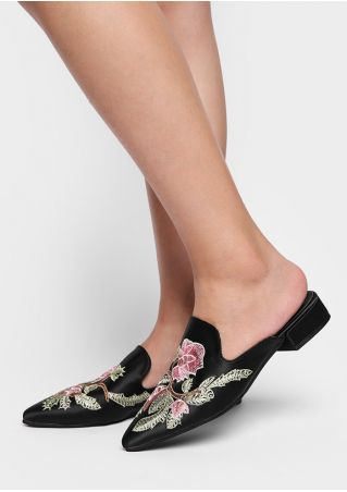 Embroidery Pointed Toe Slide Sandals