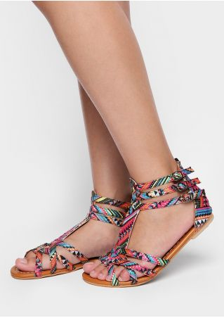Multicolor Cross Ankle Strap Flat Sandals