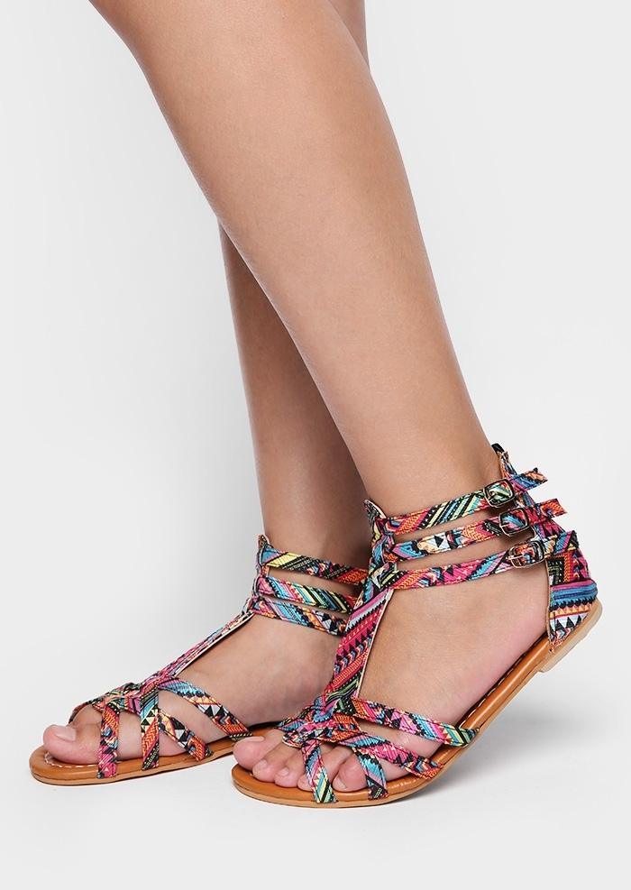 Multicolor Cross Ankle Strap Flat Sandals
