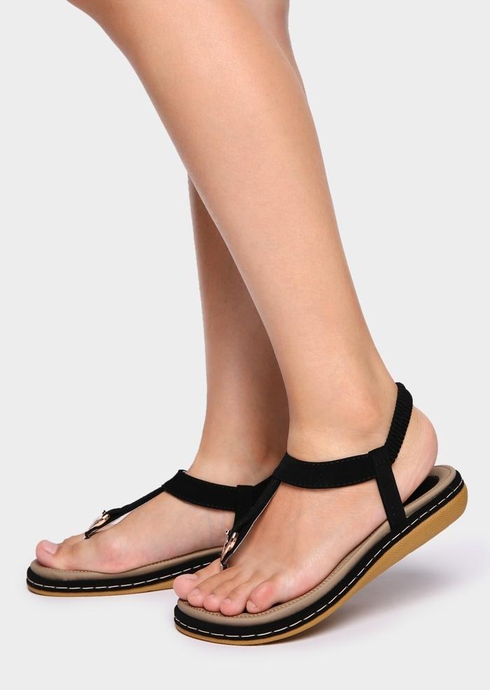 Solid Elastic Band Flat Sandals