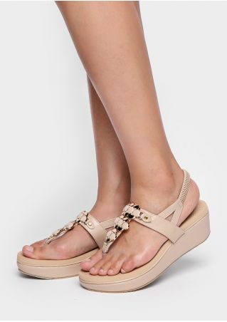 Solid PU Elastic Band Sandal Wedges