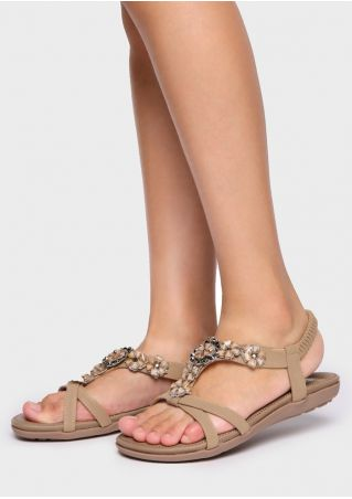 Solid Flower Imitated Crystal Flat Sandals