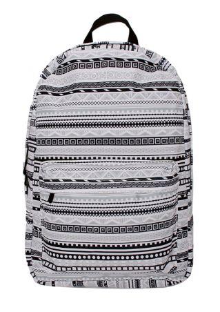 Geometric Zipper Adjustable Strap Backpack