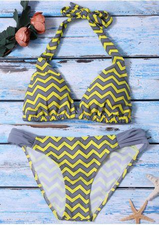 Zigzag Tie Halter Bikini Set