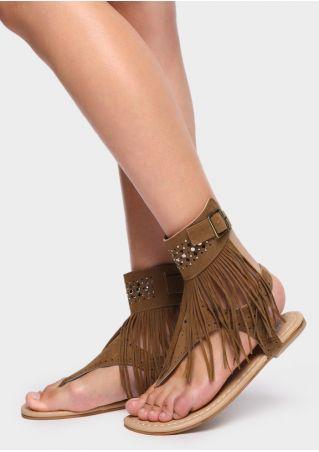 Solid Tassel Splicing Imitated Crystal Sandals