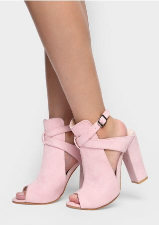 Solid Buckle Peep Toe Heels